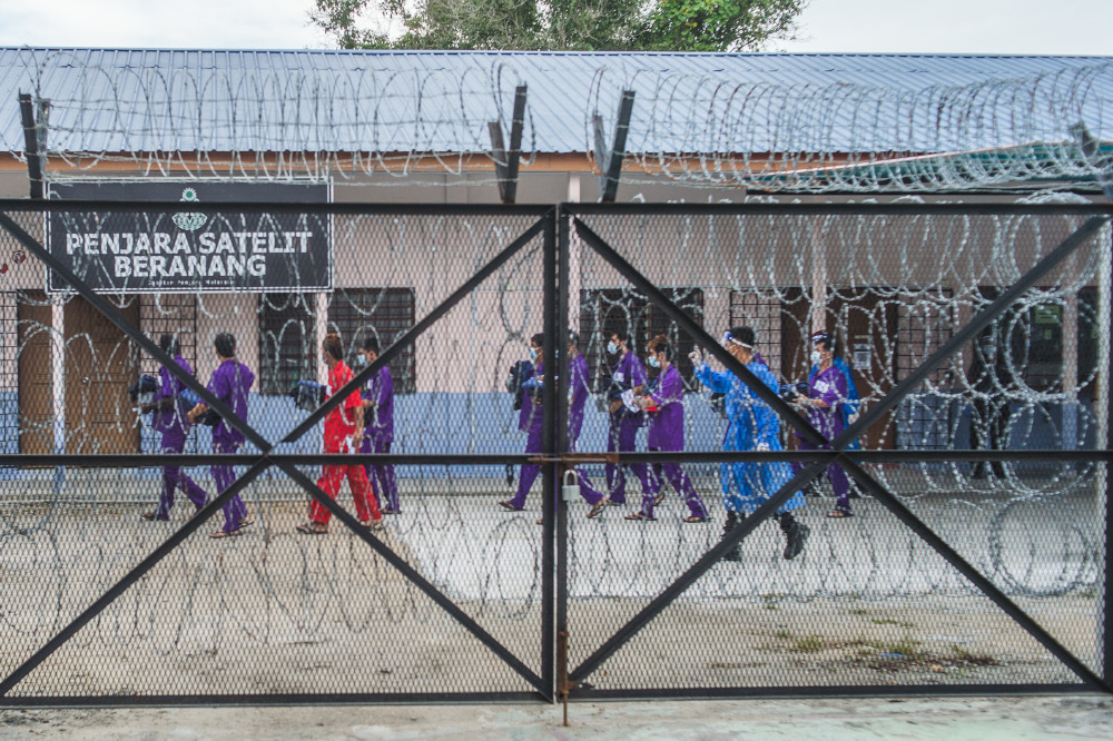 A general view of the temporary Beranang Satellite Prison and Immigration Depot, June 3, 2021. The group also expressed concern over the Rohingya people currently detained, many of whom the group said, were children. — Picture by Shafwan Zaidon