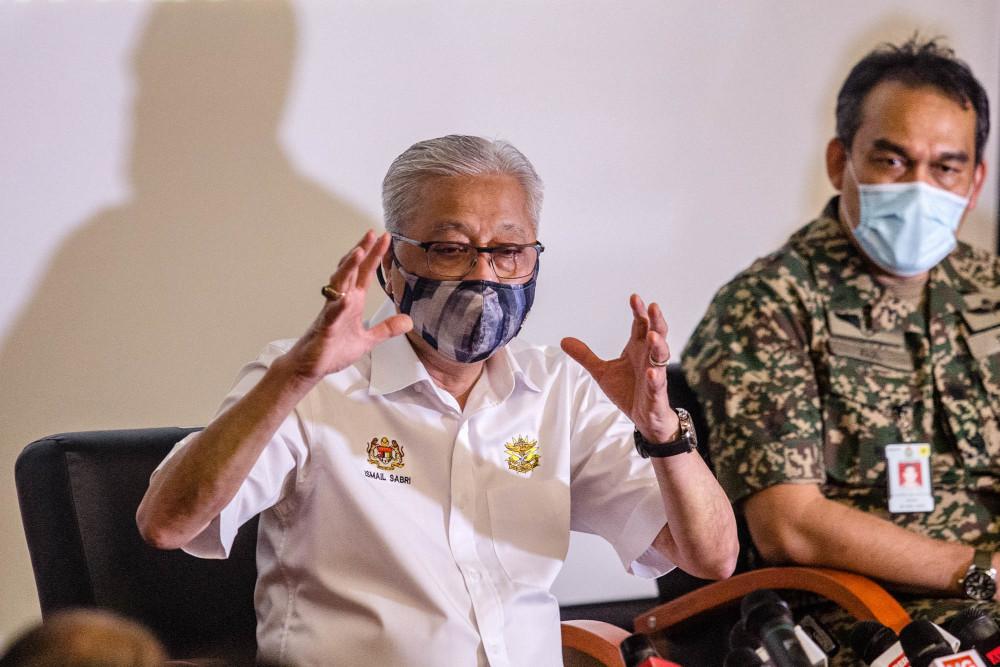 Senior Minister (Security Cluster) Datuk Seri Ismail Sabri Yaakob speaks during a press conference at Hospital Angkatan Tentera Tuanku Mizan, Kuala Lumpur June 29, 2021. — Picture by Firdaus Latif