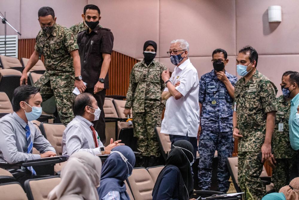 Senior Minister (Security Cluster) Datuk Seri Ismail Sabri Yaakob during meet and greet session with medical frontliners at Hospital Angkatan Tentera Tuanku Mizan, Kuala Lumpur June 29, 2021. — Picture by Firdaus Latif