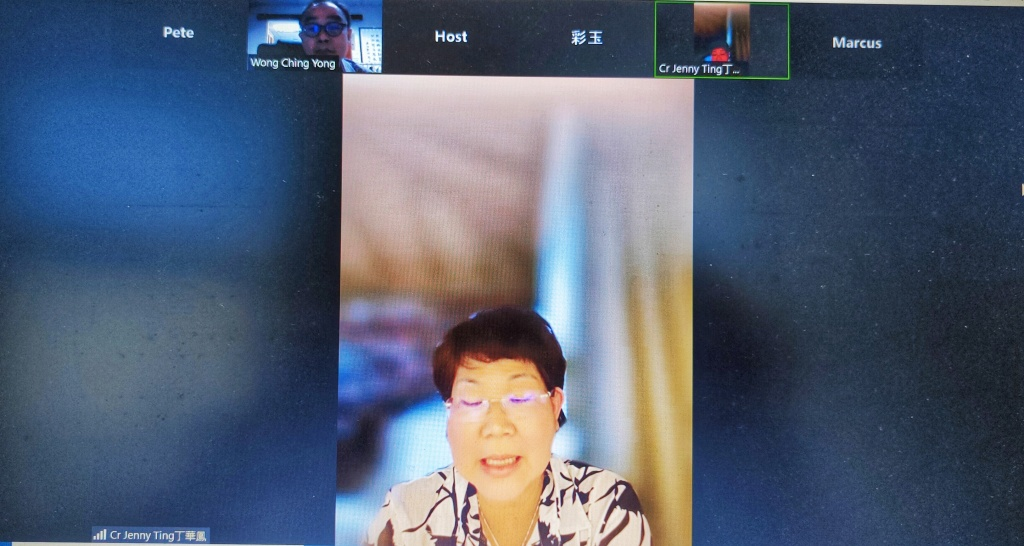 Ting talks about her digital vaccination certificate issue during the virtual press conference. Seen on the top left of the screen interface is Wong. ― Borneo Post pic