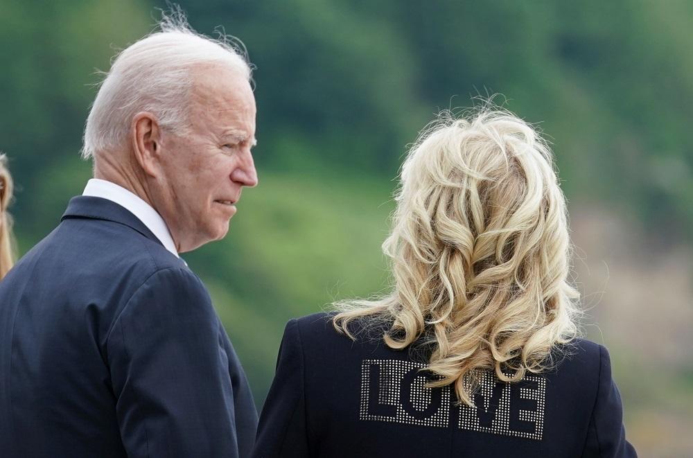 US President Joe Biden and first lady Jill Biden speak outside Carbis Bay Hotel, Carbis Bay, Cornwall, Britain June 10, 2021. ― Reuters pic