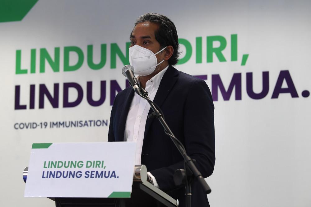 Khairy Jamaluddin speaks at a media conference on the National Covid-19 Immunisation Programme developments in Putrajaya, June 14, 2021. — Bernama pic