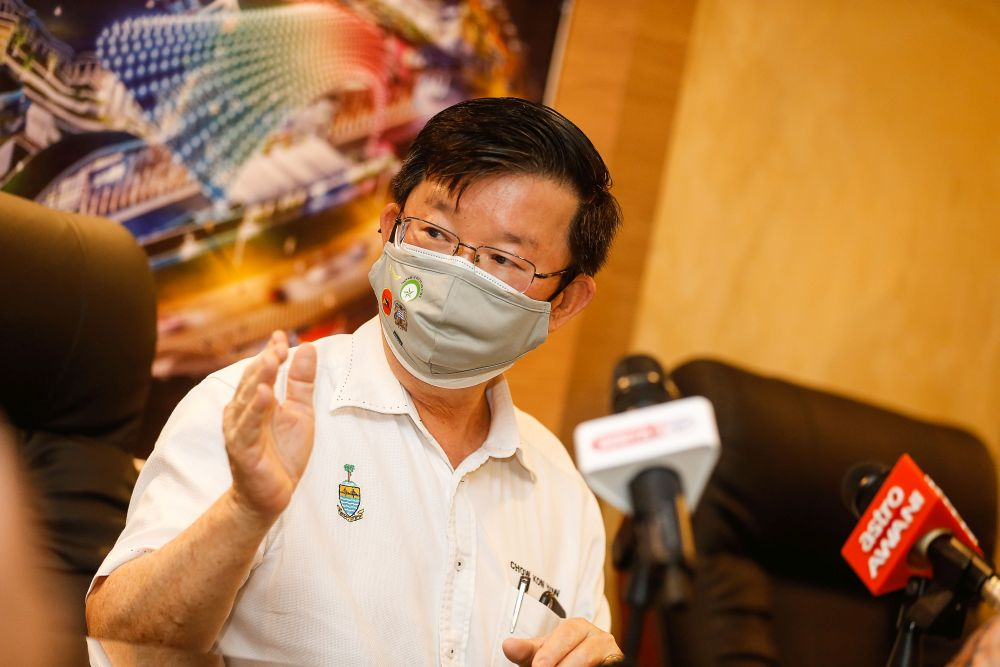 Penang Chief Minister Chow Kon Yeow speaks during a press conference at the Spice Arena, Bayan Baru June 6, 2021. — Picture by Sayuti Zainudin