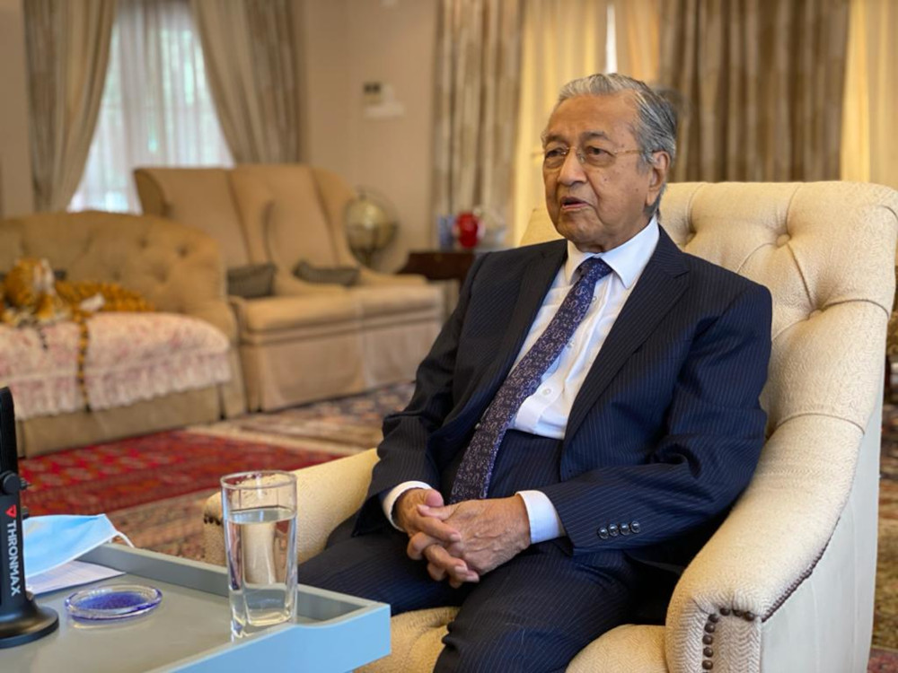 In a virtual interview with Malay daily Sinar Harian ahead of the Conference of Rulers meeting tomorrow, the Langkawi MP said his proposal for a national recovery council was never aimed at toppling or changing the government. — Picture courtesy of Tun Dr Mahathir Mohamad's Office