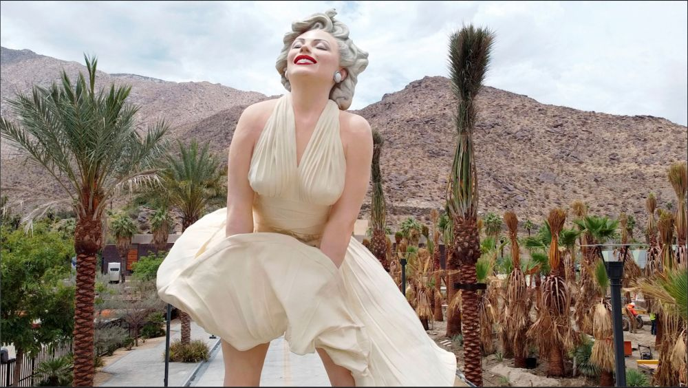 A controversial statue of actress Marilyn Monroe stands in front of the Palm Springs Art Museum in Palm Springs, California June 23, 2021. — Reuters pic