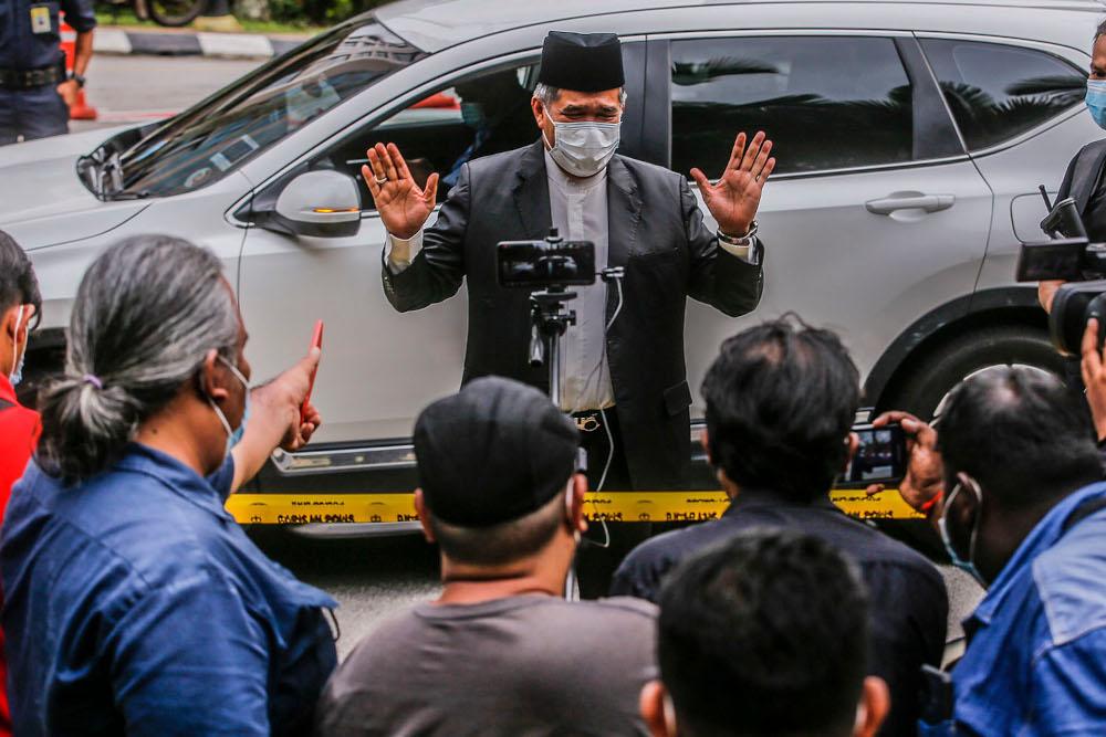 Amanah president Mohamad Sabu speaks to reporters outside Istana Negara in Kuala Lumpur June 9, 2021. ― Picture by Hari Anggara