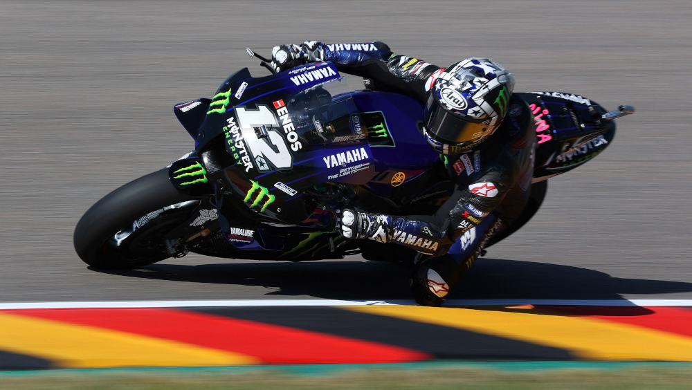 Yamaha Spanish rider Maverick Vinales steers his motorbike during the first practice session ahead of the German motorcycle Grand Prix at the Sachsenring racing circuit in Hohenstein-Ernstthal near Chemnitz, eastern Germany, June 18, 2021. — AFP pic