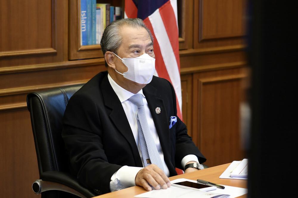 Prime Minister Tan Sri Muhyiddin Yassin chairs the Malaysian Social Protection Council (MySPC) virtual meeting in Putrajaya June 8, 2021.  — Bernama pic