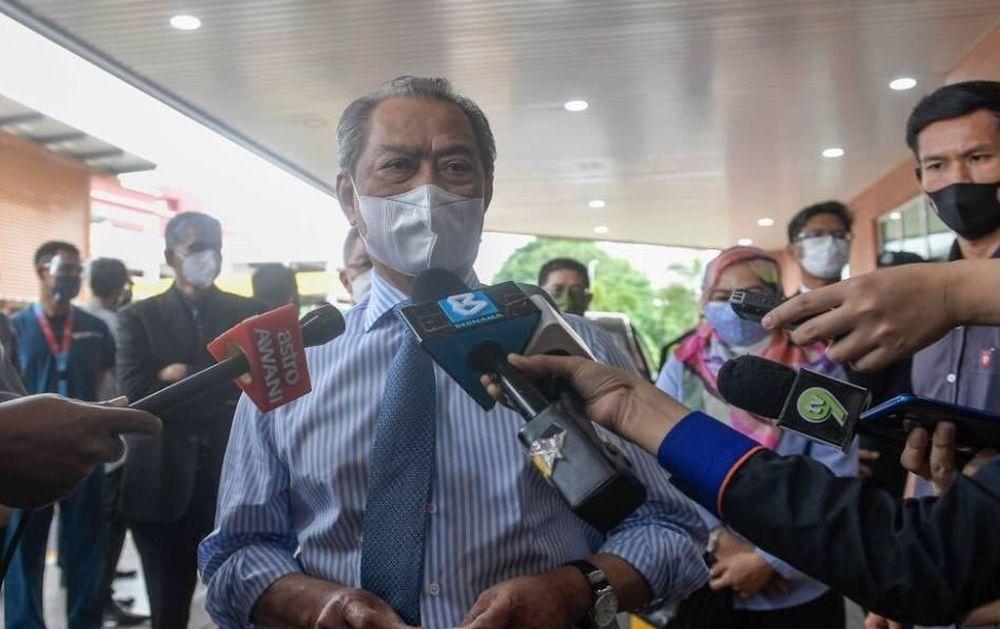 Muhyiddin  speaks to reporters during a visit to the Universiti Kebangsaan Malaysia Specialist Children's Hospital June 11, 2021. — Bernama pic