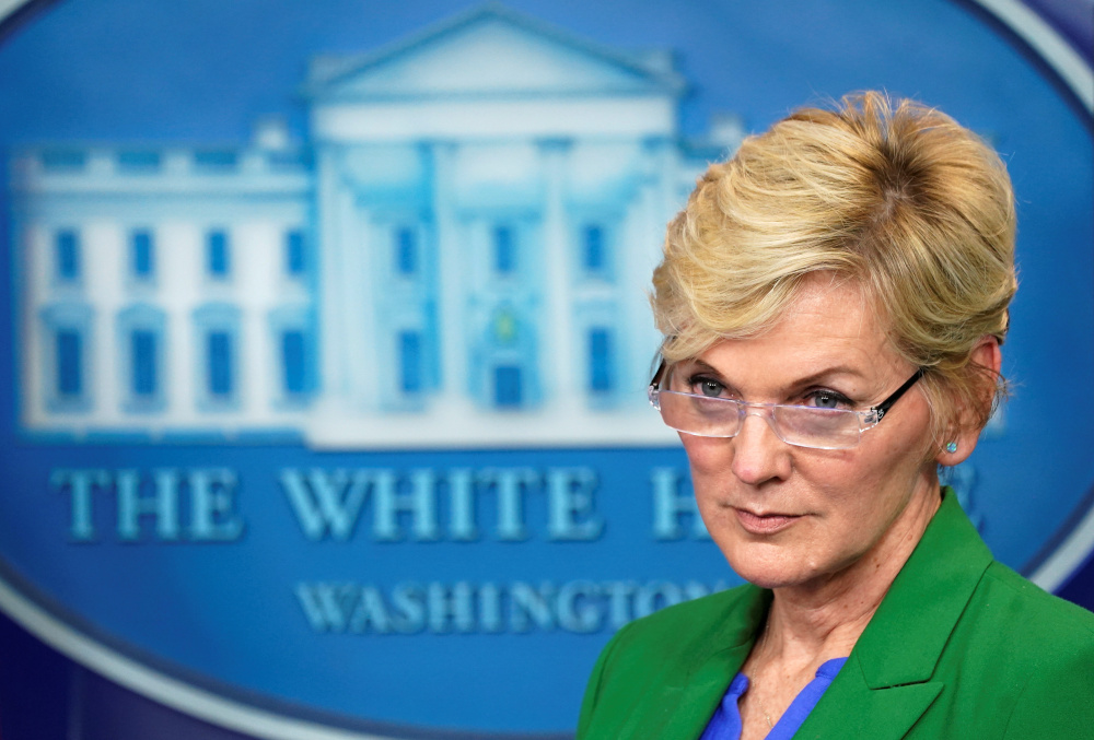 US Energy Secretary Jennifer Granholm listens to a question during a press briefing about the Colonial Pipeline cyberattack shutdown, at the White House in Washington May 11, 2021. — Reuters pic