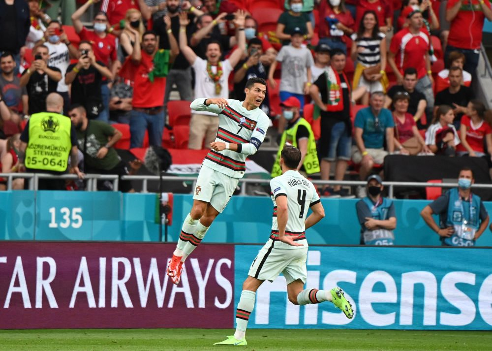 Portugal's Cristiano Ronaldo celebrates scoring their third goal against Hungary at the Puskas Arena in Budapest June 15, 2021. — Reuters pic