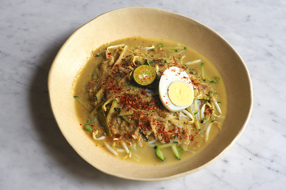 The Siamese laksa is a gentle, sweet rendition of a Southern Thai dish.