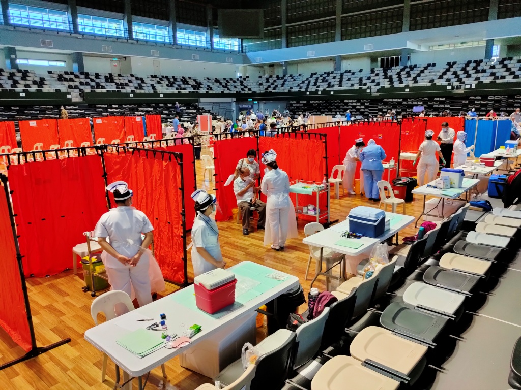 A general view of the vaccination centre at the Sibu Indoor Stadium April 19, 2021. — Borneo Post Pic