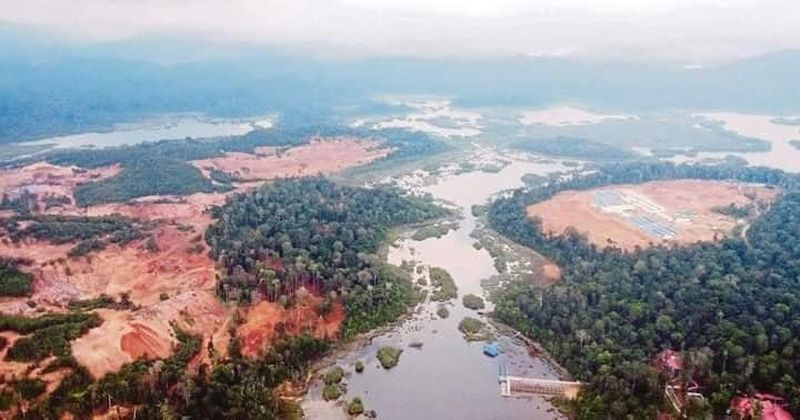 A picture of Tasik Chini which recently went viral shows mining activity taking place in the vicinity of the lake. — Picture via Facebook