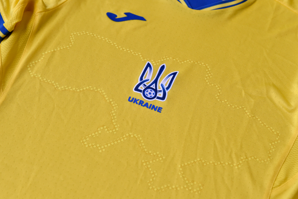 A picture taken June 6, 2021 shows a Euro 2020 jersey of the Ukrainian national football team. — AFP pic