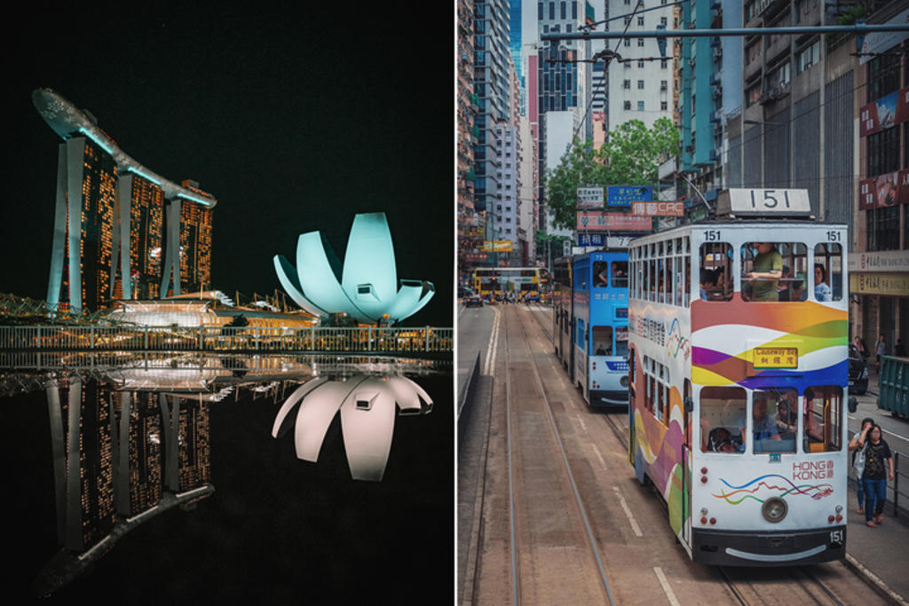 Streetscapes in Singapore (left) and Hong Kong (right). The proposed air travel bubble between the two cities will be reviewed in early July 2021. ― Unsplash pic via TODAY