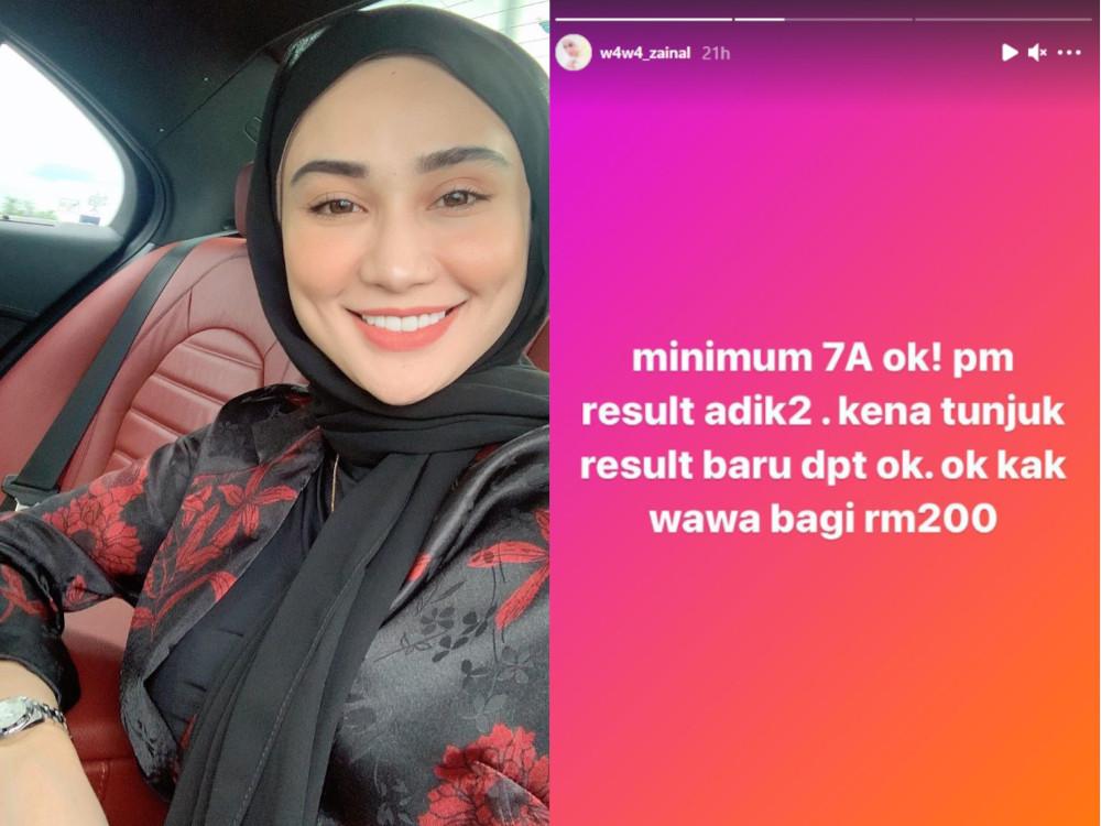 Local actress Wawa Zainal is offering RM200 reward to Sijil Pelajaran Malaysia (SPM) 2020 high achievers. — Picture courtesy of Instagram/Wawa Zainal