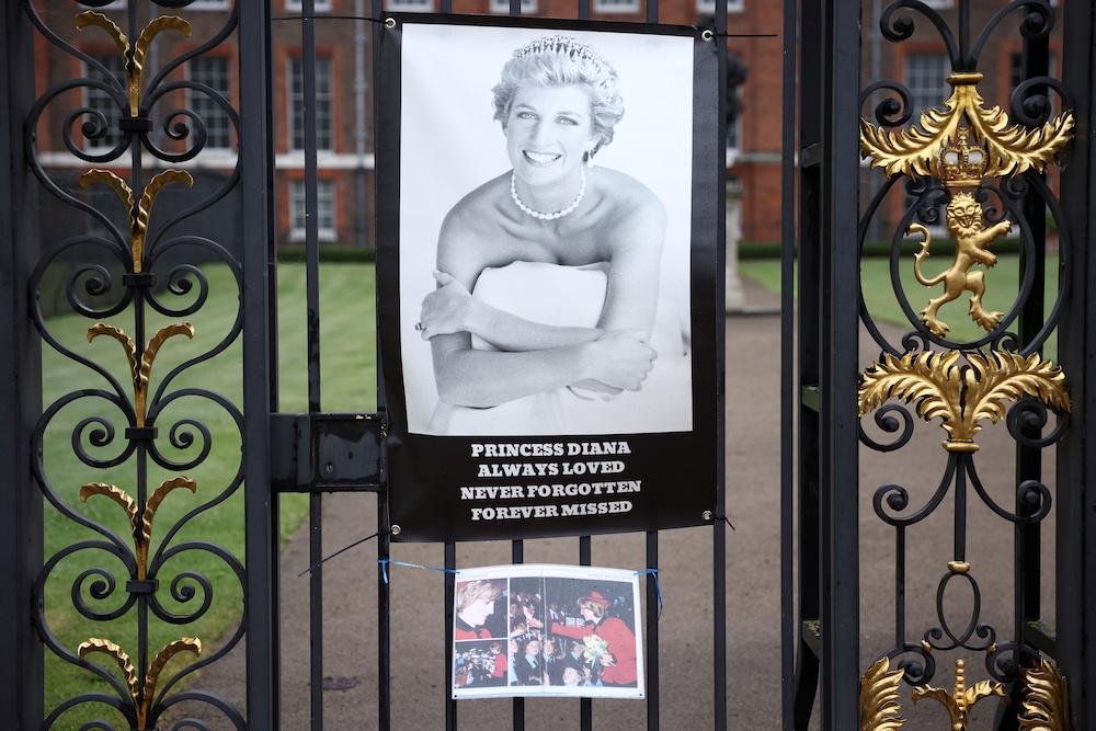 Tributes for Britain's Princess Diana hang outside Kensington Palace in London, Britain June 28, 2021. — Reuters pic