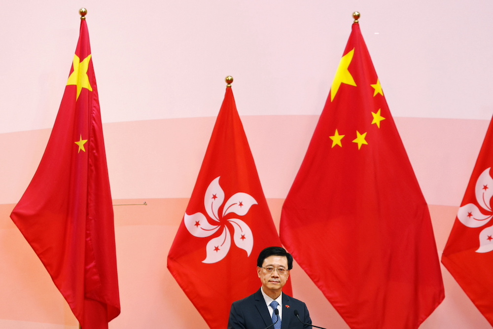 Chief Secretary for Administration John Lee Ka-chiu attends the ceremony marking the 24th anniversary of the former British colony's return to Chinese rule, in Hong Kong, China July 1, 2021. — Reuters pic