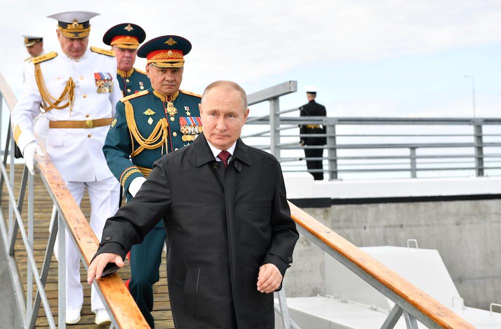 Russia's President Vladimir Putin and Defence Minister Sergei Shoigu attend the Navy Day parade in Saint Petersburg, Russia July 25, 2021. — Sputnik/Aleksey Nikolskyi/Kremlin pic via Reuters
