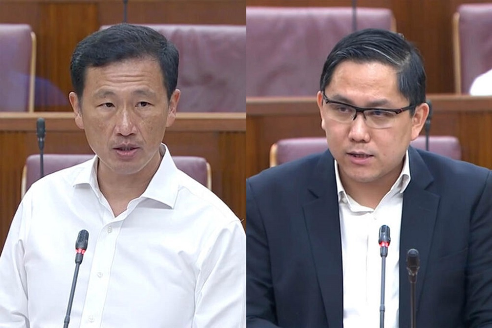 Singapore Health Minister Ong Ye Kung (left) and Member of Parliament Alex Yam (right) debating about making Covid-19 vaccination compulsory. — Singapore parliament screen capture via TODAY