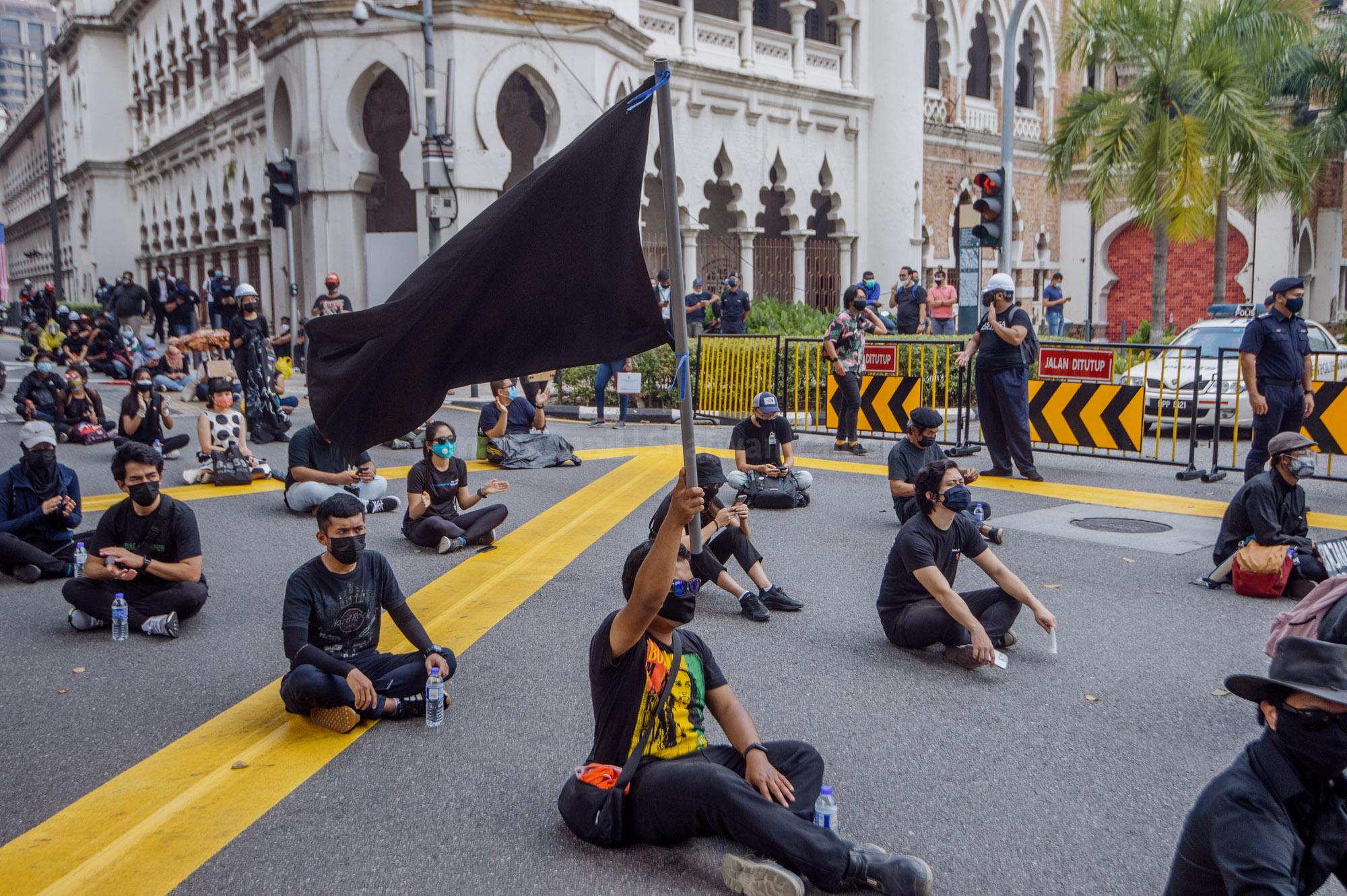 A crowd gathered near Dataran Merdeka during the #Lawan protest in Kuala Lumpur July 31, 2021. ― Picture by Shafwan Zaidon