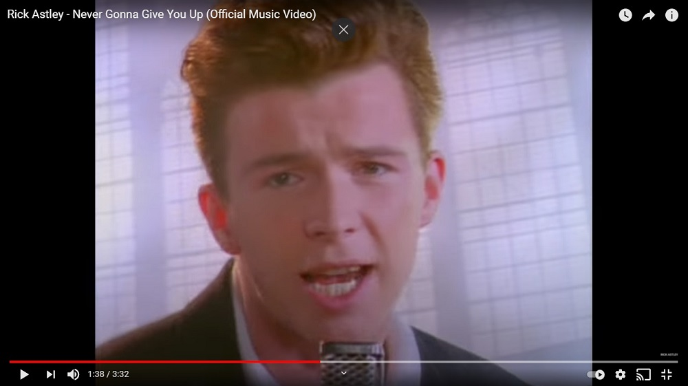 Rick Astley released his hit song 'Never Gonna Give You Up' in 1987. — Screen capture via YouTube/Rick Astley