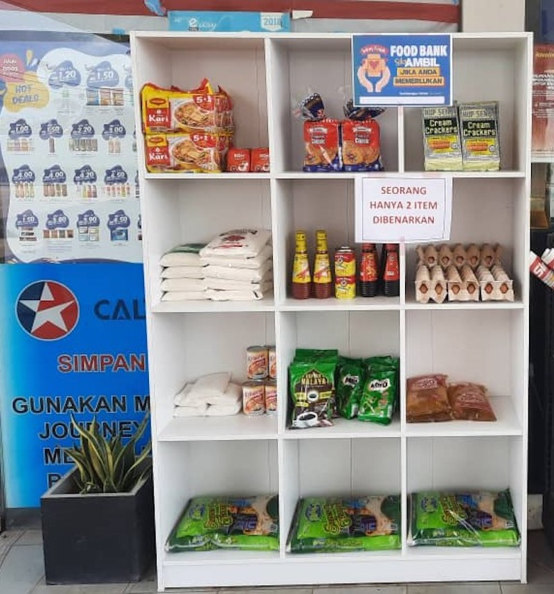 Caltex Malaysia is running a food bank initiative at select stations to help those affected by the Covid-19 pandemic. — Picture courtesy of Tan Chin Yi