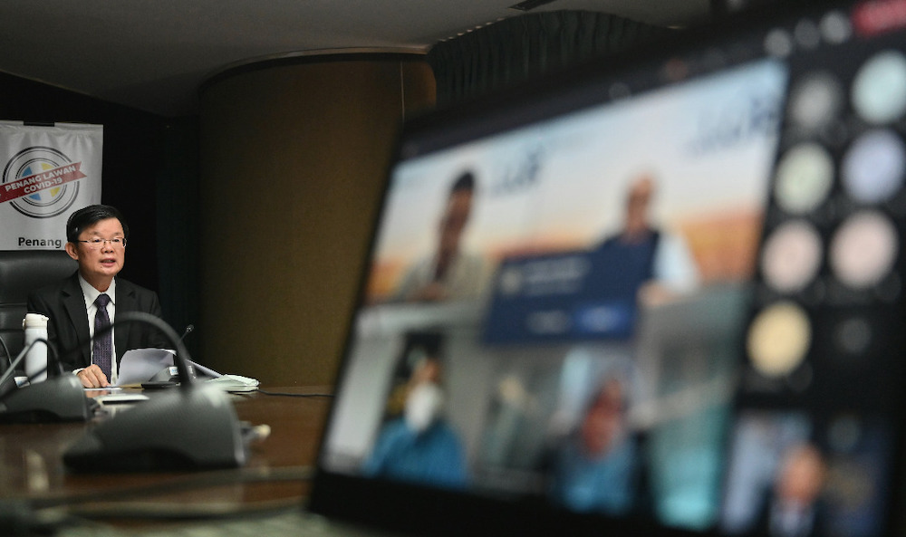 Penang Chief Minister Chow Kon Yeow at the virtual press conference today. — Picture courtesy of Penang Chief Minister's office