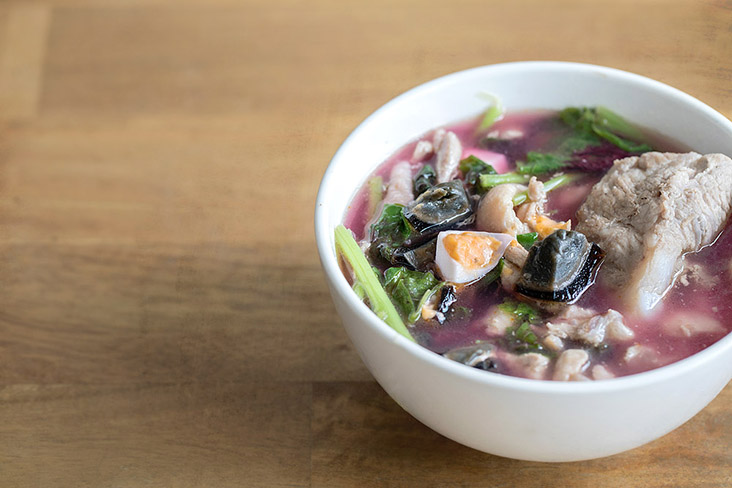 A bowl of purple Chinese spinach soup, so simple yet full of flavour and nutrients. — Pictures by CK Lim