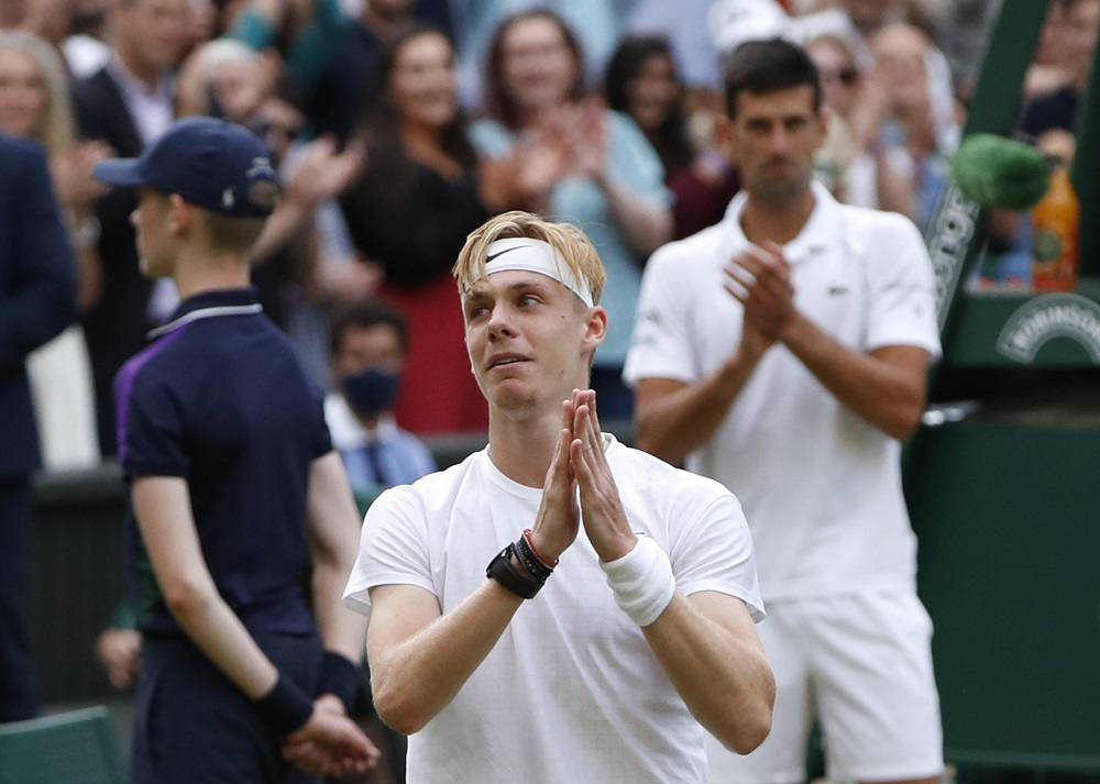Canada's Denis Shapovalov reacts after losing his semi final match against Serbia's Novak Djokovic at Wimbledon July 10, 2021. ― Reuters pic