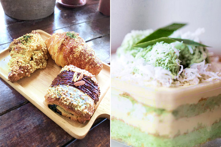 Some of Ground's popular pastries (left) and their 'ondeh-ondeh' cake (right).