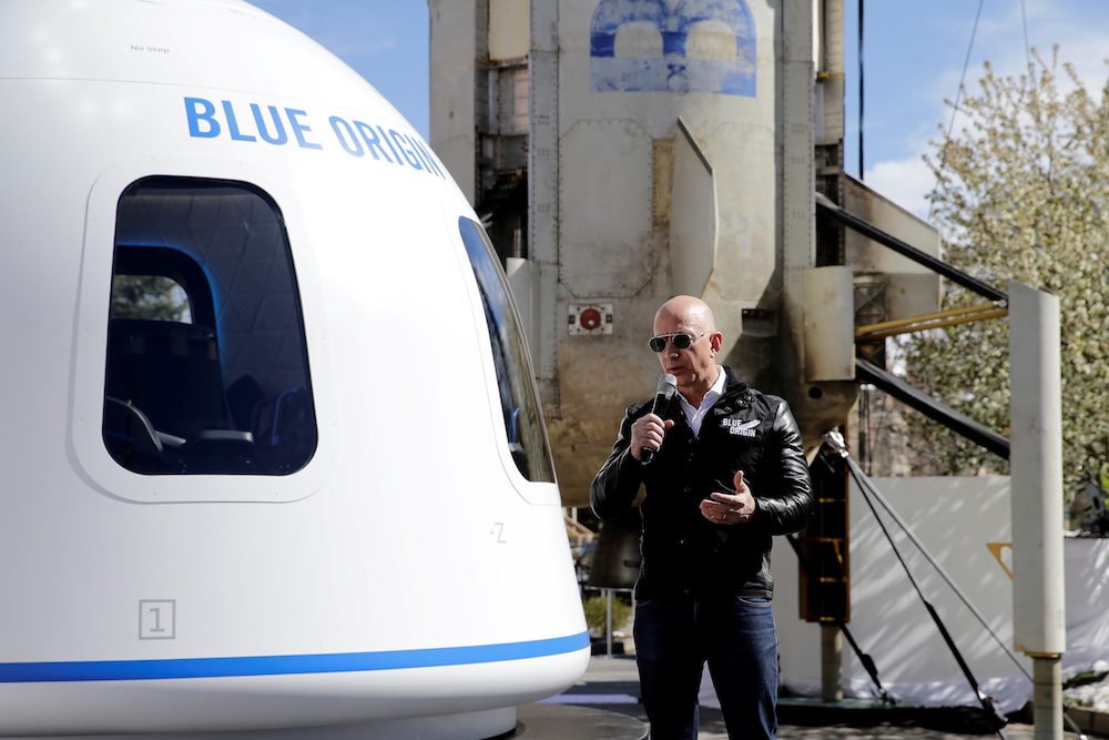 Amazon and Blue Origin founder Jeff Bezos addresses the media about the New Shepard rocket booster and Crew Capsule mockup at the 33rd Space Symposium in Colorado Springs, Colorado, United States April 5, 2017. — Reuters pic