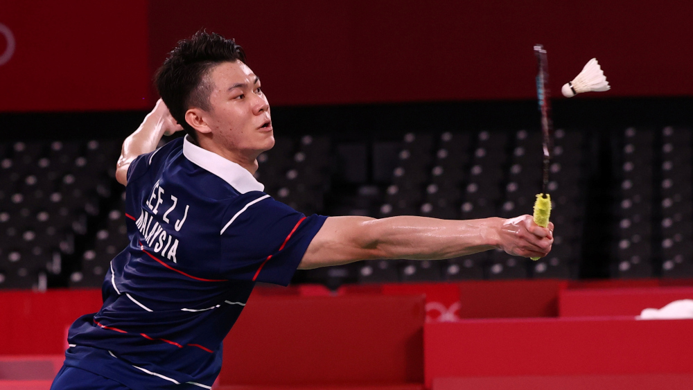 Lee Zii Jia of Malaysia in action during the match against Chen Long of China at the Musashino Forest Sport Plaza, Tokyo, Japan, July 29, 2021. — Reuters pic