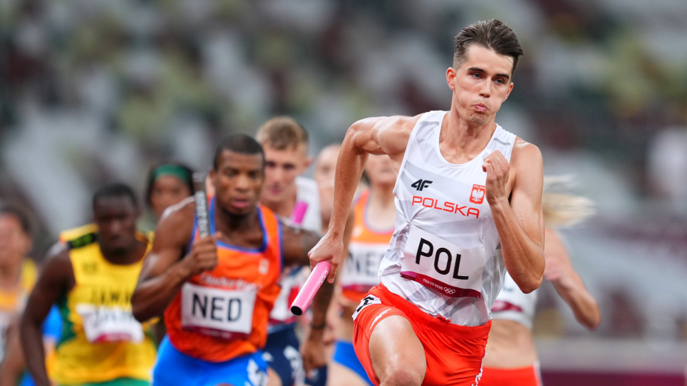 Kajetan Duszynski of Poland in action during Heat 2 of the mixed 4x400m Relay at the Olympic Stadium, Tokyo, July 30, 2021. — Reuters pic