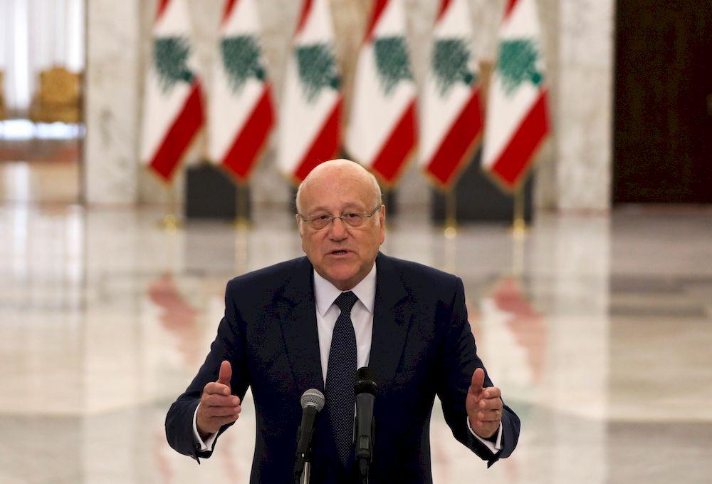 Lebanon's new Prime Minister-Designate Najib Mikati, gestures as he talks at the presidential palace in Baabda, Lebanon, July 26, 2021.  — Reuters pic