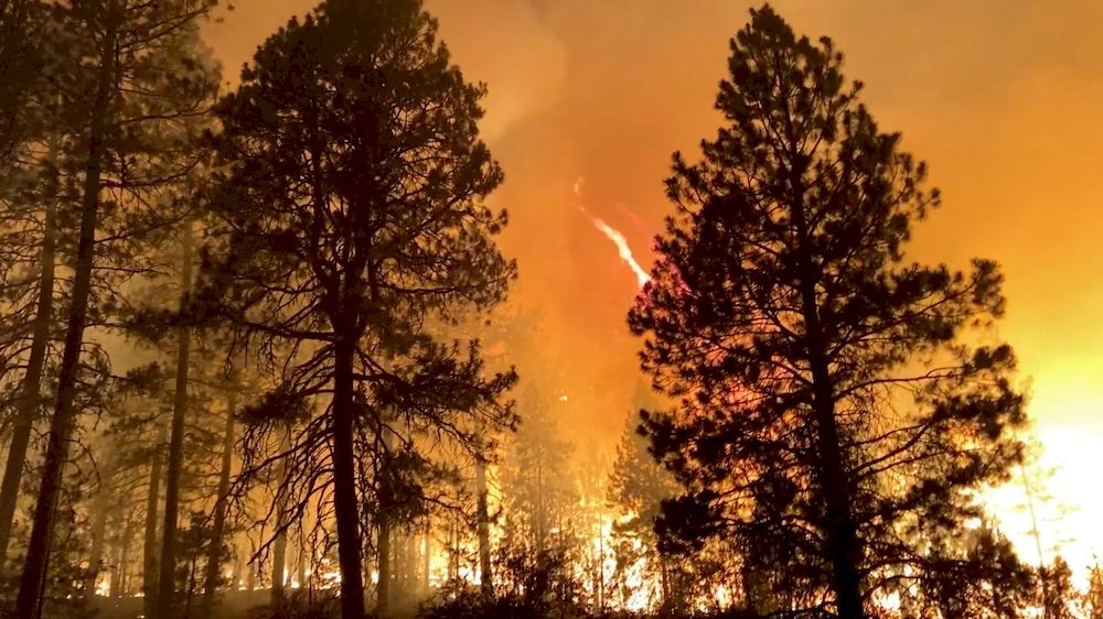 The Bootleg Fire rages across central Oregon state, in Klamath County, Oregon in this July 13, 2021 picture obtained from social media. — Oregon State Fire Marshal via Reuters