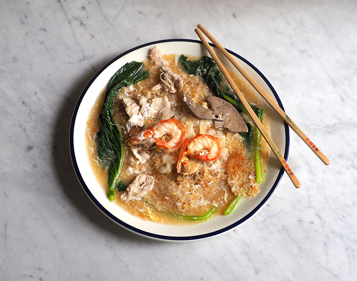 Sang Kee's Cantonese fried noodles is incredibly satisfying with an eggy sauce and the sweet taste of freshwater prawns