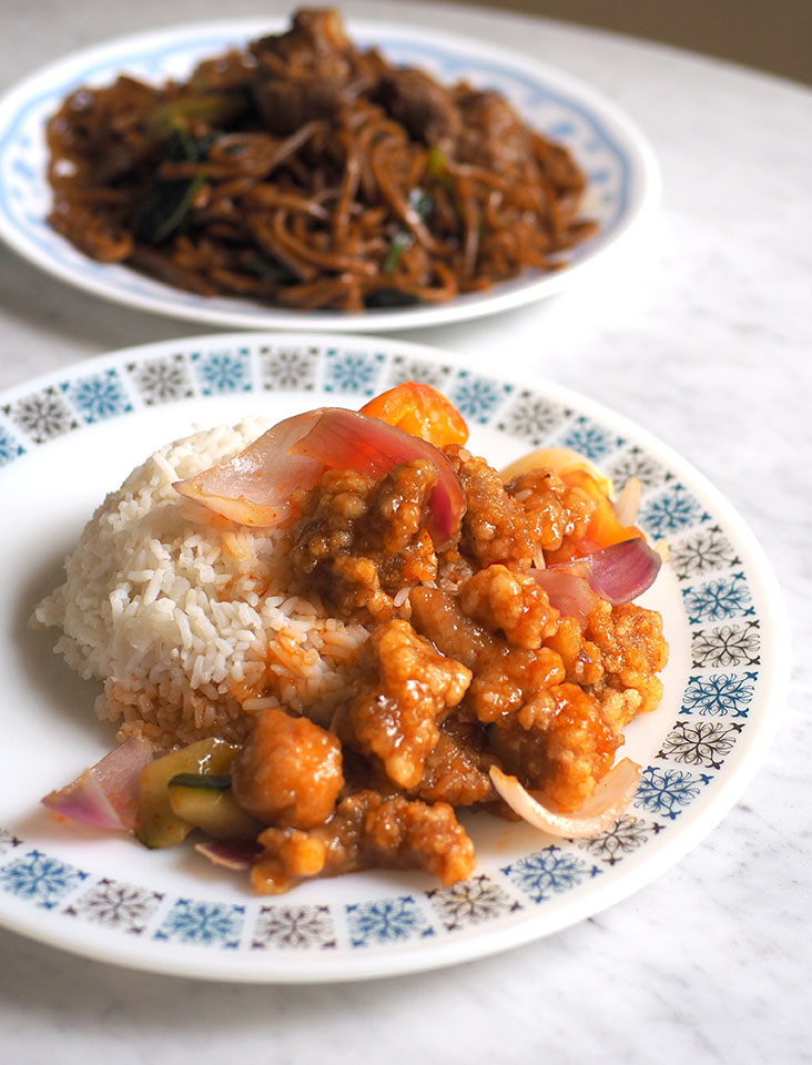Hong Ngek Restaurant serves up various solo lunch dishes like this sweet and sour pork paired with rice