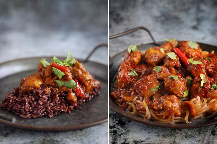 Two other ways of serving: with Japanese 'shirataki' noodles or with Thai riceberry grains.