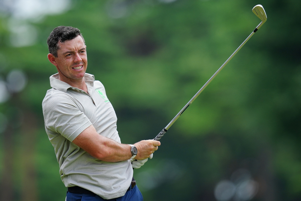 Ireland's Rory Mcilroy watches his shot from the 7th tee in round 1 of the men's golf individual stroke play during the Tokyo 2020 Olympic Games at the Kasumigaseki Country Club in Kawagoe July 29, 2021. — AFP pic