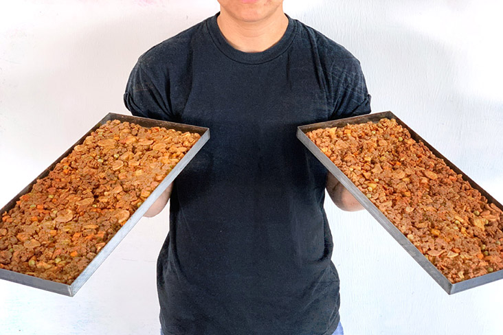 Trays of freeze-dried meals before packing.