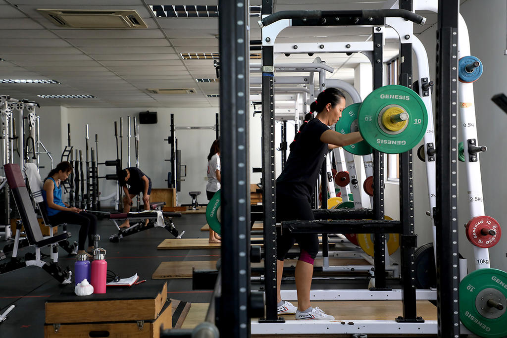 Gym users at Genesis Gym at Katong Shopping Centre, on July 21, 2021. — TODAY pic