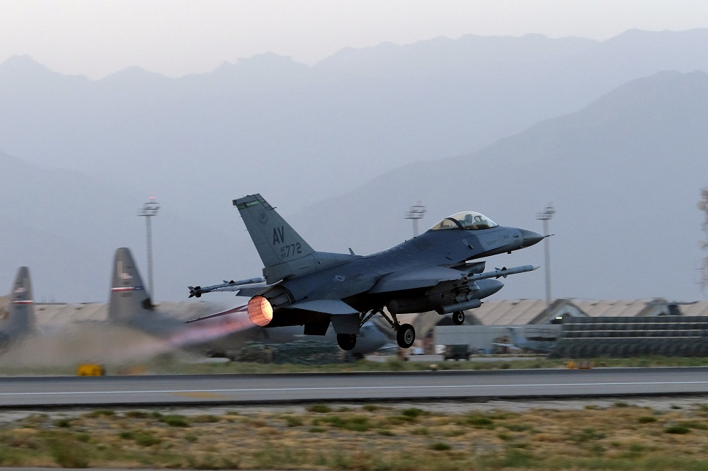 A US Air Force F-16 Fighting Falcon aircraft takes off for a nighttime mission at Bagram Airfield, Afghanistan, August 22, 2017. ― Reuters file pic