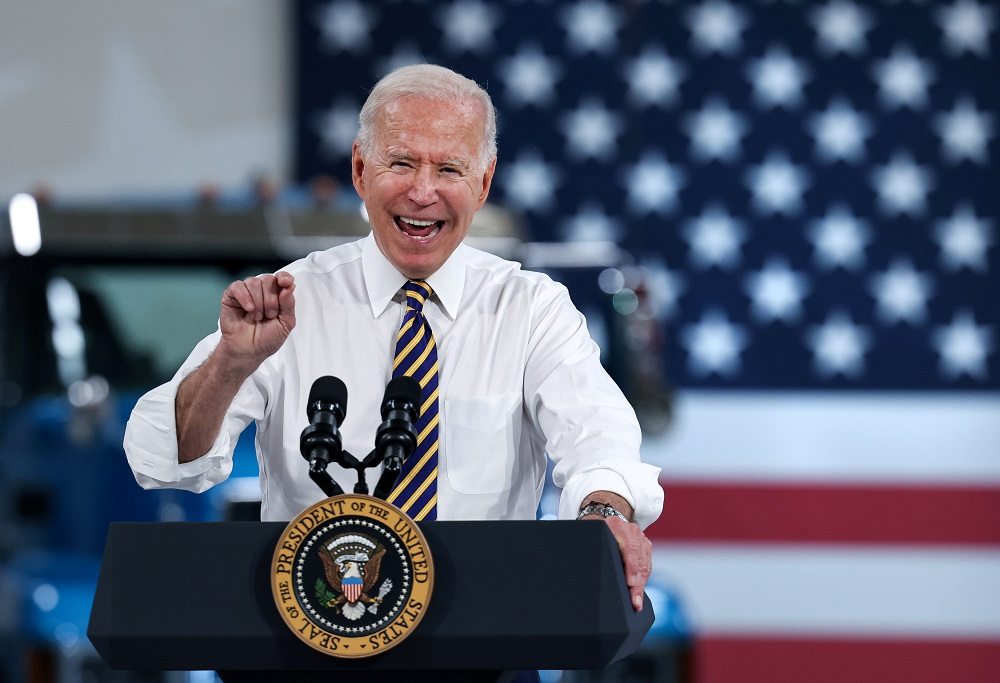 US President Joe Biden speaks during a visit to the Mack-Lehigh Valley Operations Manufacturing Facility in Macungie, Pensylvania July 28, 2021. ― Reuters pic