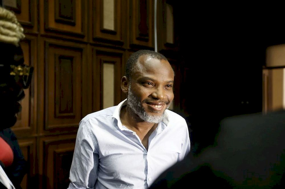 Indigenous People of Biafra (IPOB) leader Nnamdi Kanu is seen at the Federal high court Abuja, Nigeria, on January 20, 2016. — Reuters pic