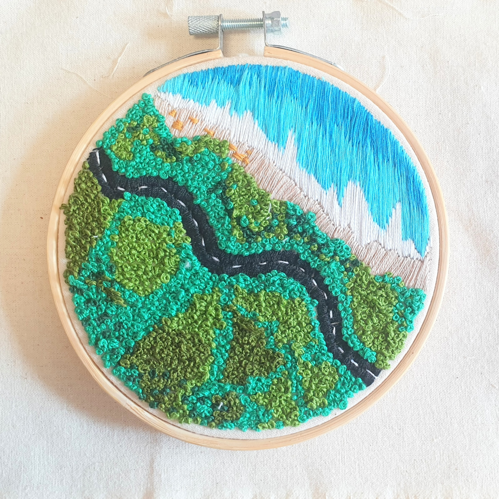 An embroidery artwork titled 'My Way Home'. — Picture courtesy of Queen Lee