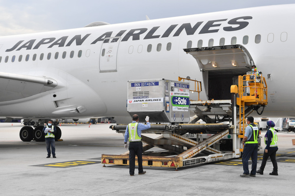 AstraZeneca vaccine supply donated by the government of Japan arrives via Boeing 787 of Japan Airlines at the Kuala Lumpur International Airport (KLIA), July 1, 2021. — Bernama pic