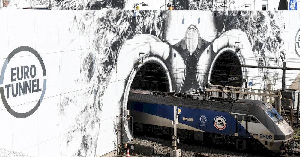 A train exits the Channel Tunnel. — AFP file pic