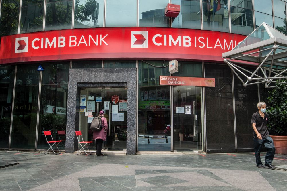 A CIMB Bank branch is pictured in Kuala Lumpur, July 9, 2021. — Picture by Firdaus Latif